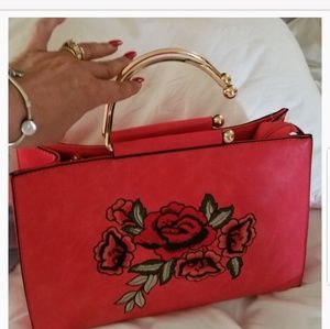 Beautiful Red Rose Bag w/ Detachable Straps